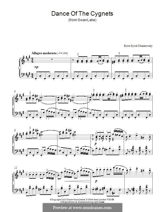 No.27 Danses des petits cygnes: Para Piano by Pyotr Tchaikovsky