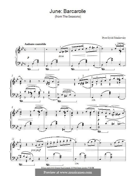 No.6 June (Barcarole): para piano (com dedilhado) by Pyotr Tchaikovsky