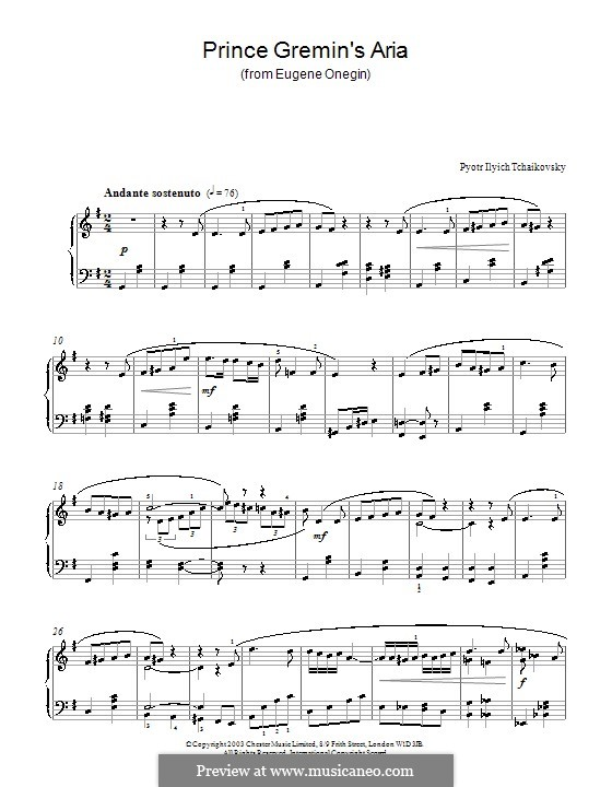 Act III, No.20a Gremin's Aria: arranjo para piano by Pyotr Tchaikovsky