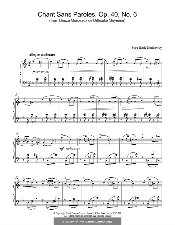 Twelve Pieces , TH 138 Op.40: No.6 Song without Words by Pyotr Tchaikovsky