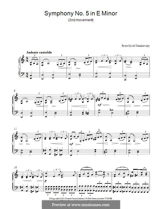 Movement II: arranjos para piano (Fragmento) by Pyotr Tchaikovsky