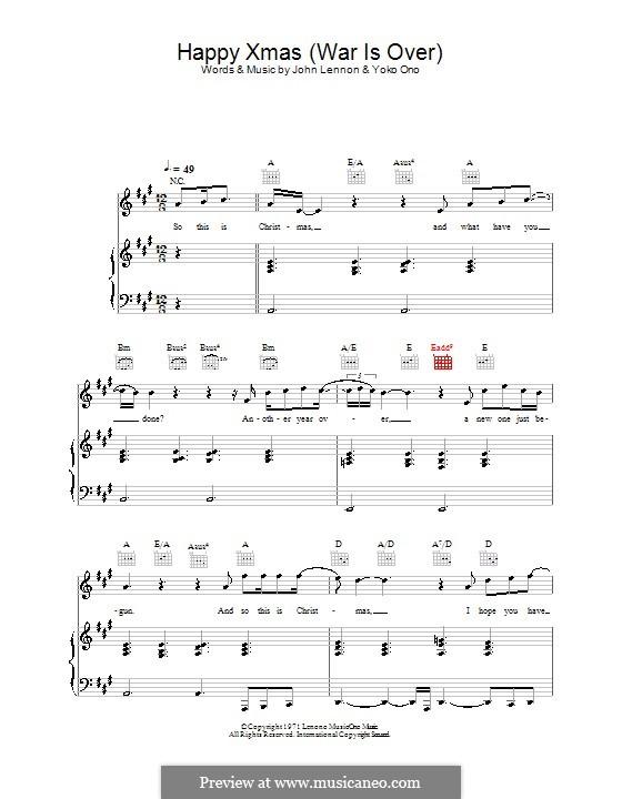 Happy Xmas (War Is Over): Para vocais e piano (ou Guitarra) by John Lennon, Yoko Ono