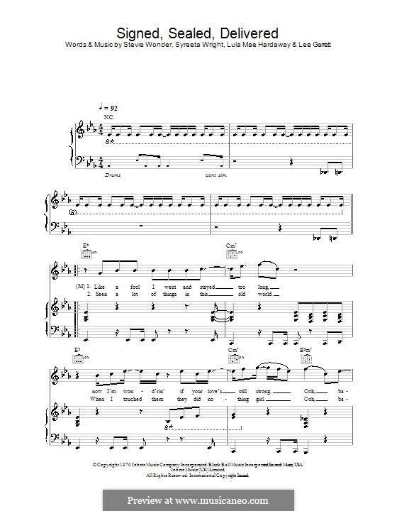 Signed, Sealed, Delivered (Blue feat. Stevie Wonder): Para vocais e piano (ou Guitarra) by Lee Garrett, Lula Mae Hardaway, Stevie Wonder, Syreeta Wright