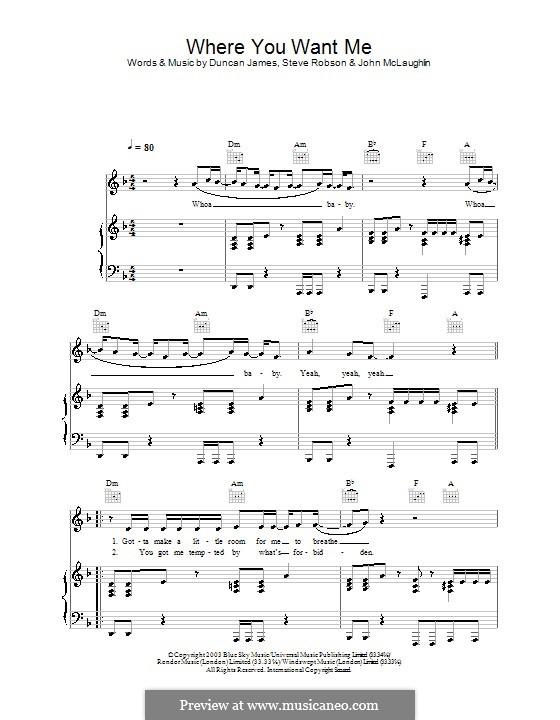 Where You Want Me (Blue): Para vocais e piano (ou Guitarra) by Duncan James, John McLaughlin, Steve Robson