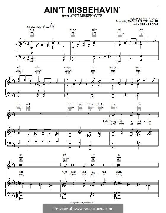 Ain't Misbehavin': para voz e piano ou guitarra(Louis Armstrong) by Fats Waller, Harry Brooks