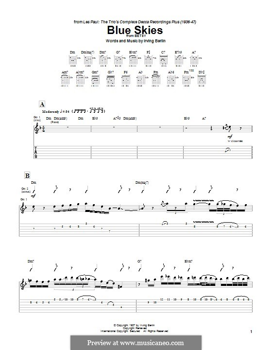 Blue Skies: Para guitarra com guia by Irving Berlin