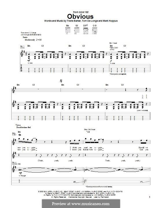 Obvious (Blink-182): Para Guitarra by Mark Hoppus, Tom DeLonge, Travis Barker