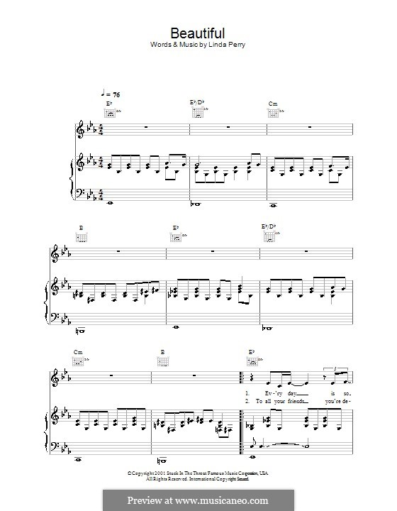 Beautifull (Christina Aguilera & Beverly McClellan): For voice and piano or guitar (Alex Parks) by Linda Perry