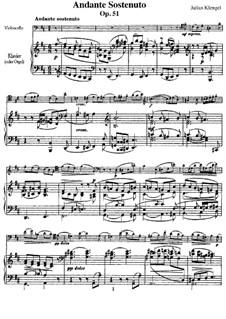 Andante Sostenuto for Violoncello and Piano, Op.51: Andante Sostenuto for Violoncello and Piano by Julius Klengel