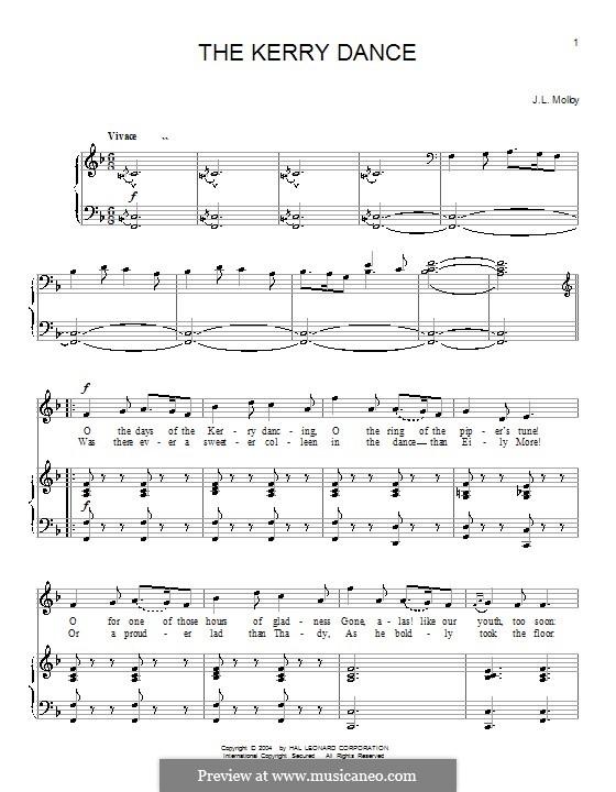 The Kerry Dance: Para vocais e piano (ou Guitarra) by James L. Molloy