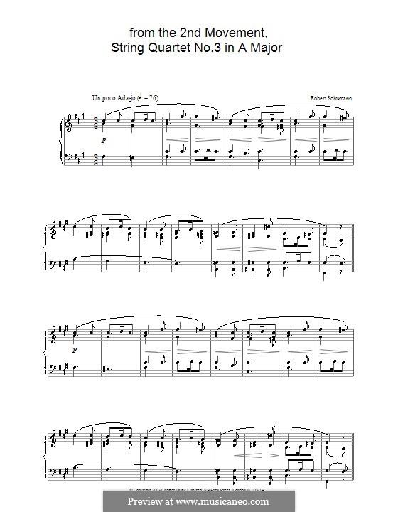 Three String Quartets, Op.41: Quartet No.3. Movement II. Version for piano by Robert Schumann