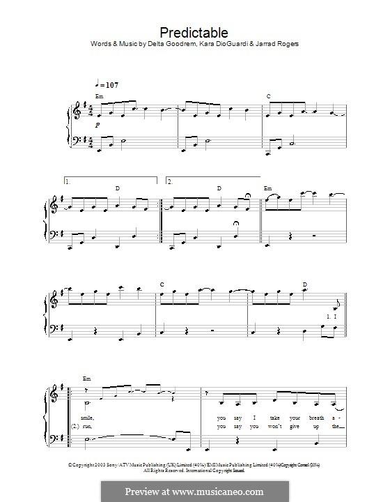 Predictable: Facil para o piano by Delta Goodrem, Jarrad Rogers, Kara DioGuardi