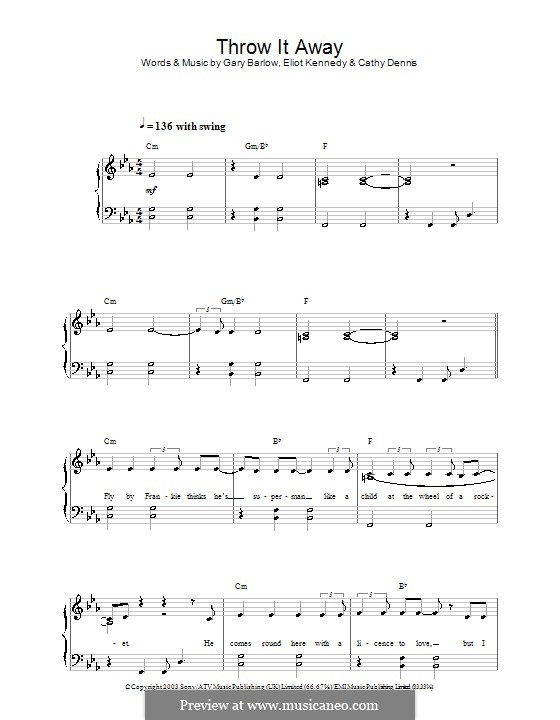 Throw It Away: Facil para o piano by Cathy Dennis, Eliot Kennedy, Gary Barlow