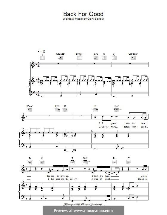 Back for Good (Take That): Para vocais e piano (ou Guitarra) by Gary Barlow