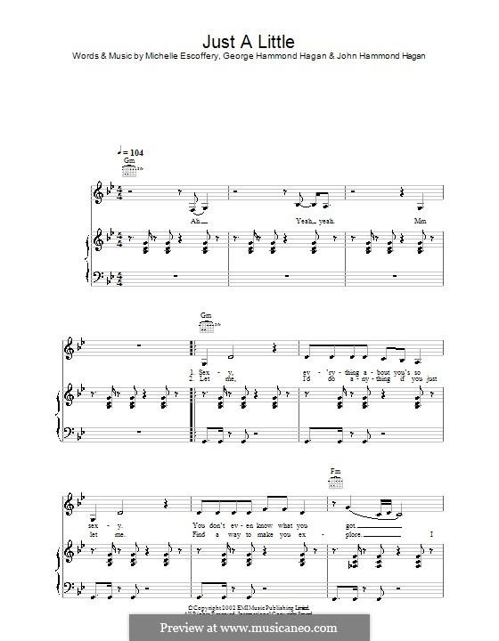 Just a Little (Liberty X): Para vocais e piano (ou Guitarra) by George Hammond Hagan, John Hammond Hagan, Michelle Escoffery