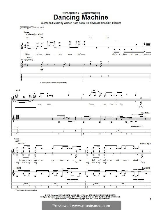 Dancing Machine (The Jackson 5): Para guitarra com guia by Donald E. Fletcher, Hal Davis, Weldon Dean Parks