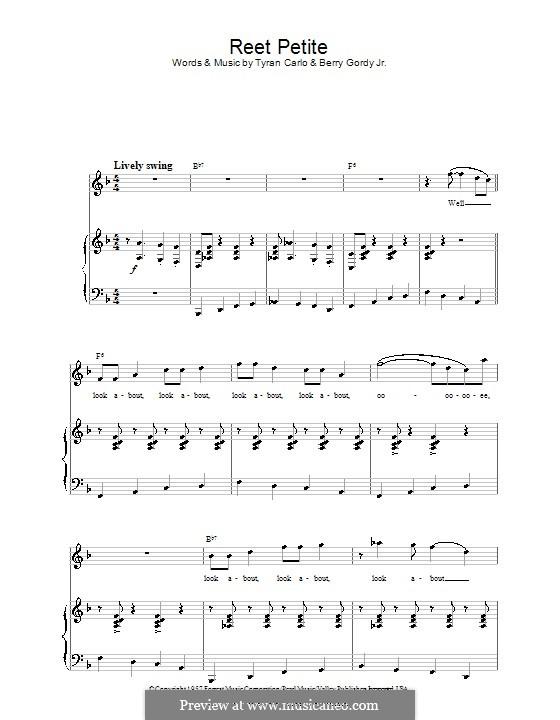 Reet Petite (The Sweetest Girl in Town): Para vocais e piano (ou Guitarra) by Berry Gordy, Tyran Carlo