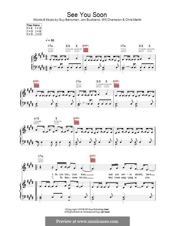 See You Soon (Coldplay): Para vocais e piano (ou Guitarra) by Chris Martin, Guy Berryman, Jonny Buckland, Will Champion