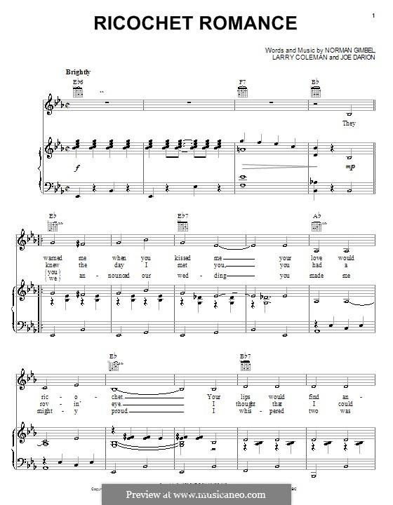 Ricochet Romance: Para vocais e piano (ou Guitarra) by Joe Darion, Larry Coleman