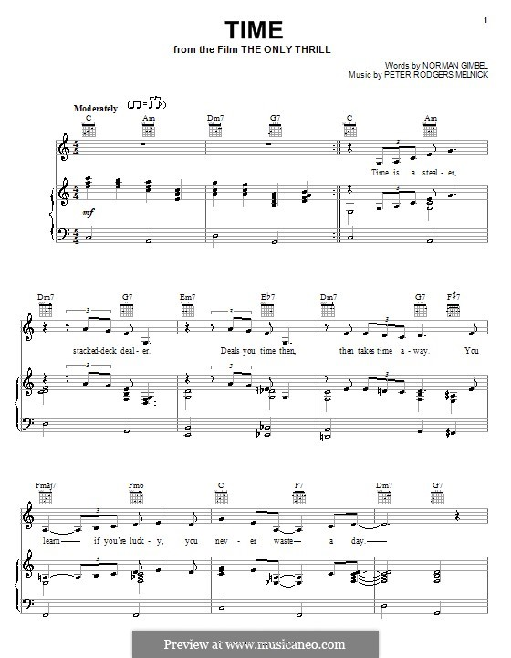 Time (from The Only Thrill): Para vocais e piano (ou Guitarra) by Peter Rodgers Melnick