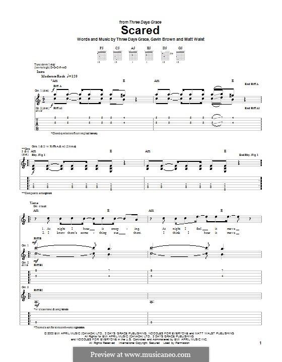 Scared (Three Days Grace): Para guitarra com guia by Gavin Brown, Matt Walst