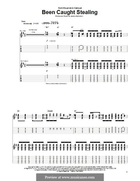 Been Caught Stealing (Jane's Addiction): Para guitarra com guia by Dave Navarro, Eric Avery, Perry Farrell, Stephen Perkins