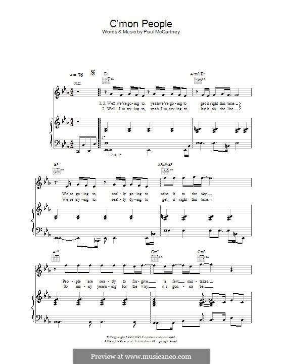 C'mon People: Para vocais e piano (ou Guitarra) by Paul McCartney