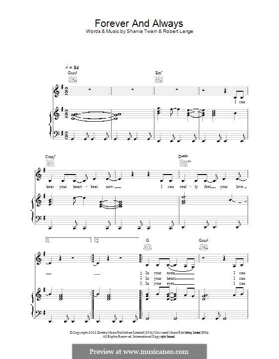 Forever and for Always: Para vocais e piano (ou Guitarra) by Robert John Lange, Shania Twain
