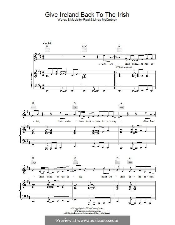 Give Ireland Back To the Irish (Wings): Para vocais e piano (ou Guitarra) by Linda McCartney, Paul McCartney