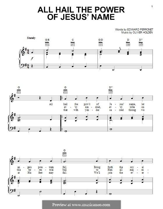 All Hail the Power of Jesus' Name: Para vocais e piano (ou Guitarra) by Oliver Holden