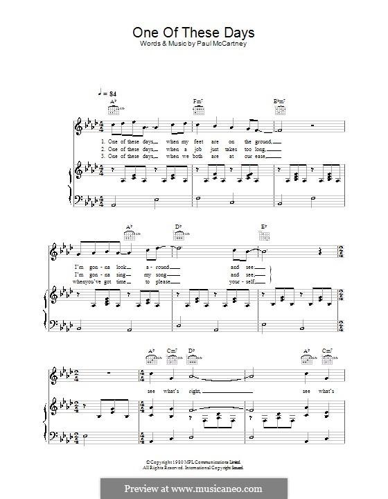 One of These Days: Para vocais e piano (ou Guitarra) by Paul McCartney