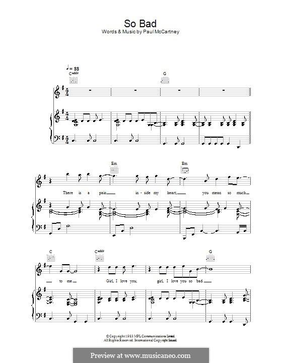 So Bad: Para vocais e piano (ou Guitarra) by Paul McCartney