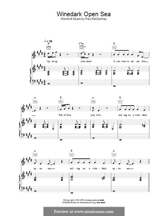 Winedark Open Sea: Para vocais e piano (ou Guitarra) by Paul McCartney