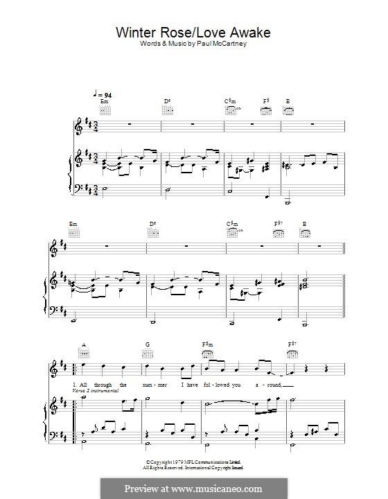 Winter Rose/Love Awake: Para vocais e piano (ou Guitarra) by Paul McCartney