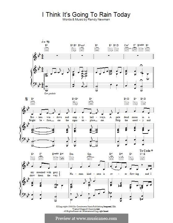 I Think it's Going to Rain Today (Katie Melua): Para vocais e piano (ou Guitarra) by Randy Newman