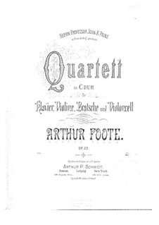 Piano Quartet in C Major, Op.23: Piano Quartet in C Major by Arthur Foote