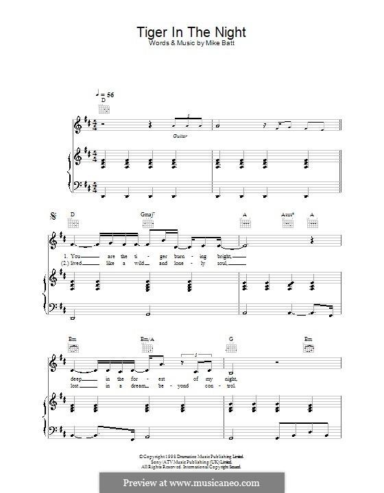 Tiger in the Night (Katie Melua): Para vocais e piano (ou Guitarra) by Mike Batt
