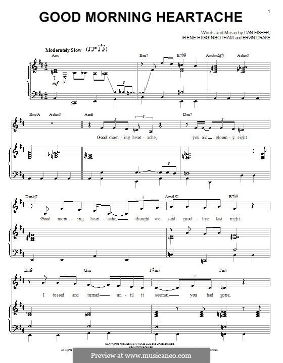 Good Morning Heartache (Billie Holiday): Para vocais e piano (ou Guitarra) by Daniel Fisher, Ervin Drake, Irene Higginbotham