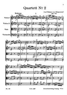 String Quartet No.2 in B Flat Major: partitura completa by Carl Ditters von Dittersdorf