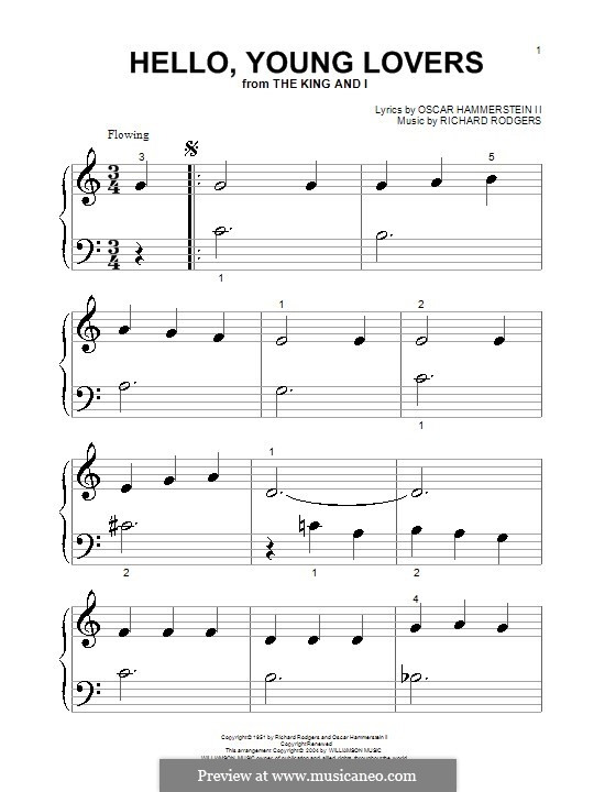 Hello, Young Lovers: para piano (versão facil) by Richard Rodgers