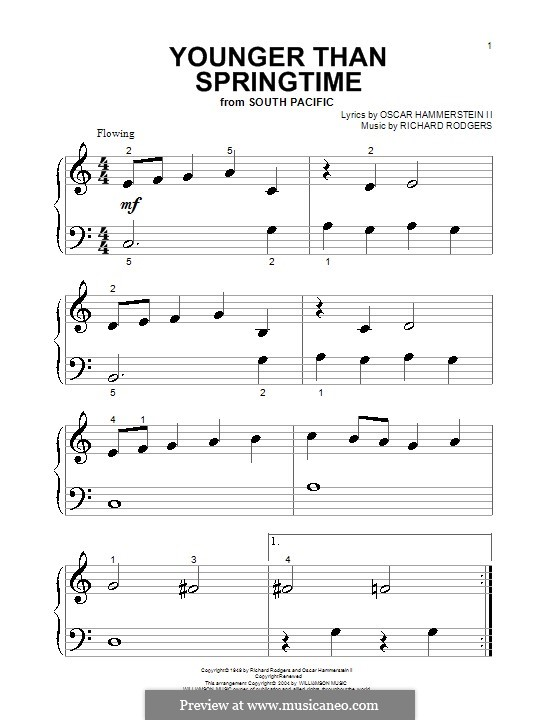 Younger Than Springtime (from South Pacific): para piano (versão facil) by Richard Rodgers