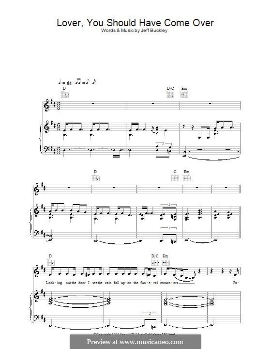 Lover, You Should've Come Over: Para vocais e piano (ou Guitarra) by Jamie Cullum, Jeff Buckley