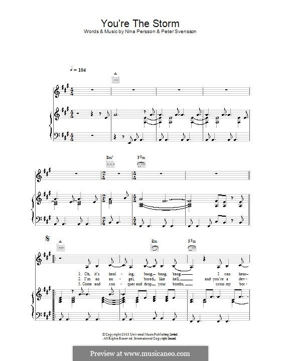 You're the Storm (The Cardigans): Para vocais e piano (ou Guitarra) by Nina Persson, Peter Svensson