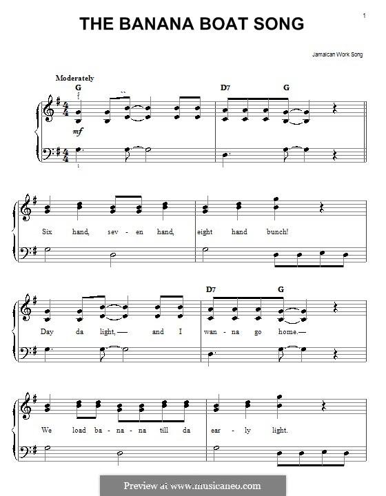 The Banana Boat Song (Day-O): Facil para o piano by folklore