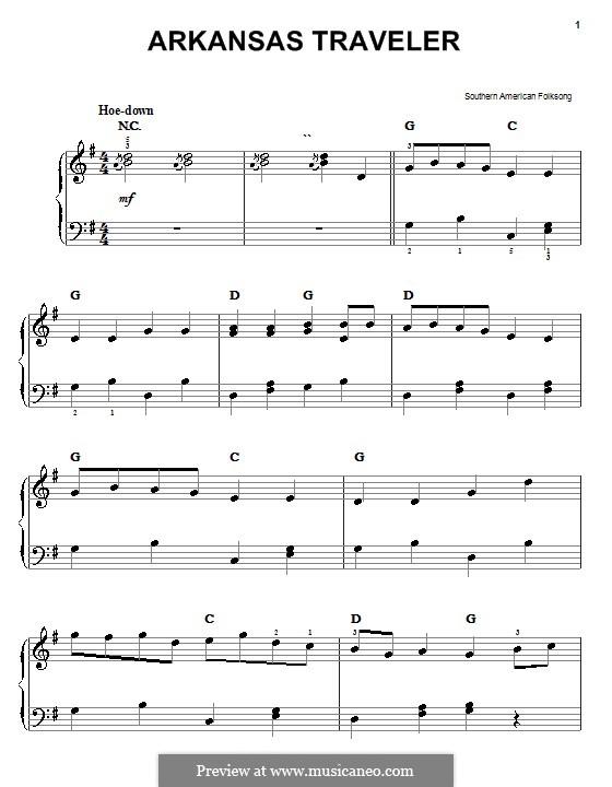 Arkansas Traveler: Facil para o piano by folklore
