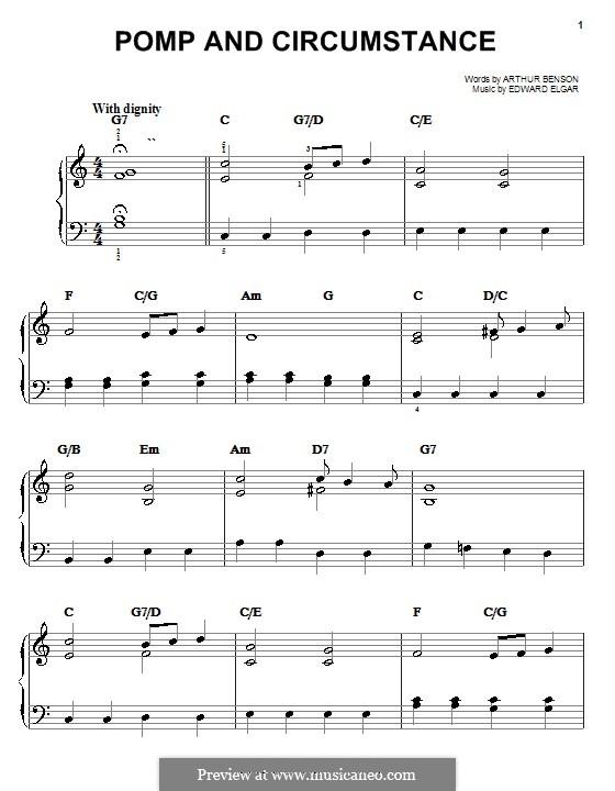 March No.1: Facil para o piano by Edward Elgar