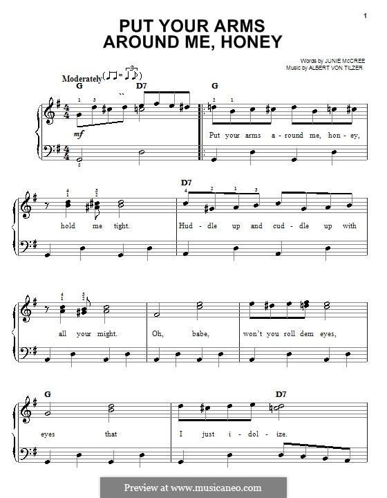 Put Your Arms Around Me, Honey: Facil para o piano by Albert von Tilzer