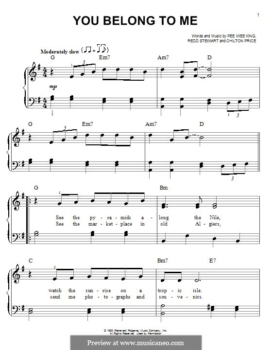 You Belong To Me (Patsy Cline): Facil para o piano by Chilton Price, Pee Wee King, Redd Stewart