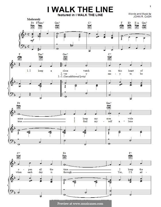 I Walk the Line: Para vocais e piano (ou Guitarra) by Johnny Cash
