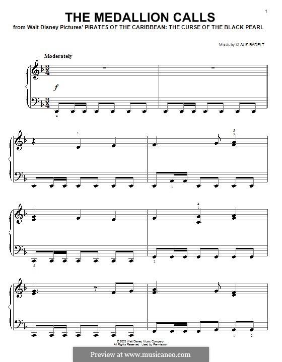 The Medallion Calls: Facil para o piano by Klaus Badelt